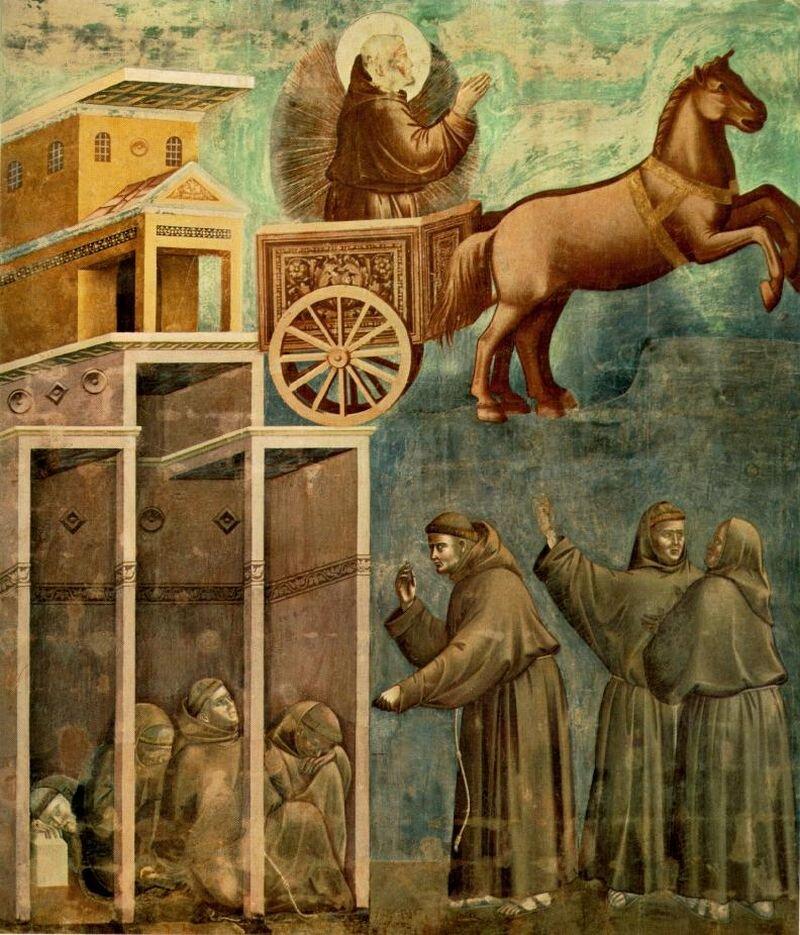 Wizja ognistego rydwanu - wtej scenie widzimy podobieństwo św. Franciszka do biblijnego proroka Eliasza.Jest to znak, że Franciszek jest blisko Boga. Wizja ognistego rydwanu - wtej scenie widzimy podobieństwo św. Franciszka do biblijnego proroka Eliasza.Jest to znak, że Franciszek jest blisko Boga. Źródło: Giotto di Bondone, 1288-1292, fresk, domena publiczna.