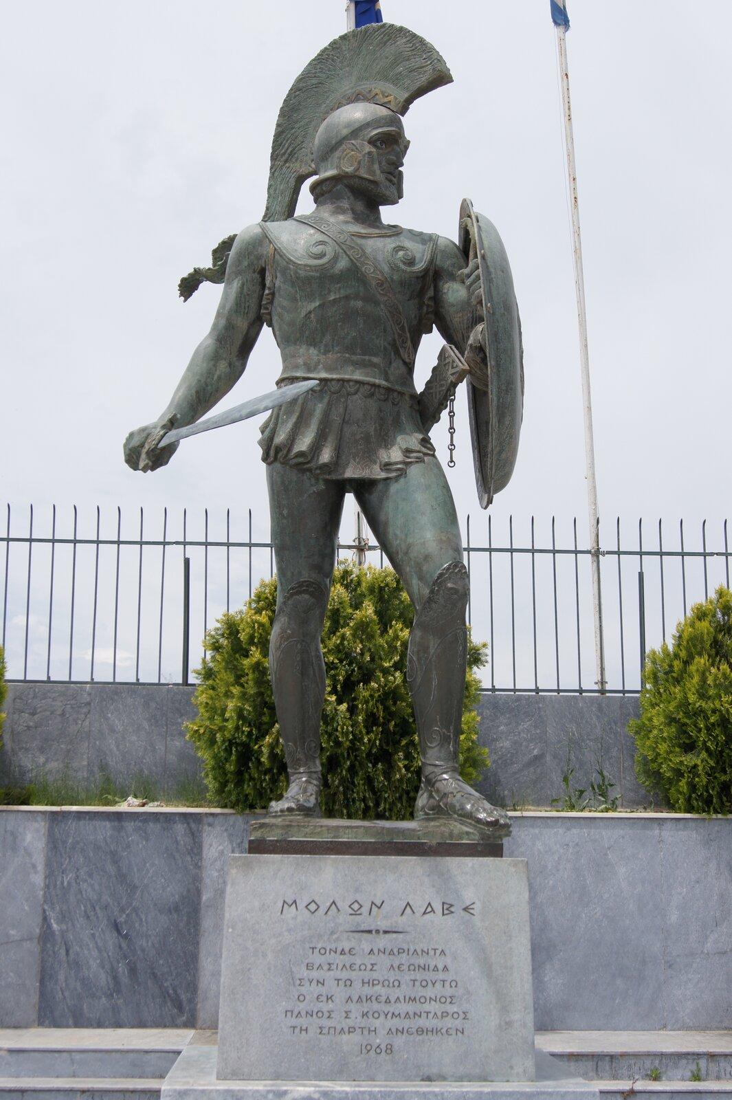 Statua Leonidasa IwSparcie Źródło: Praxinoa, Statua Leonidasa IwSparcie, licencja: CC BY-SA 3.0.