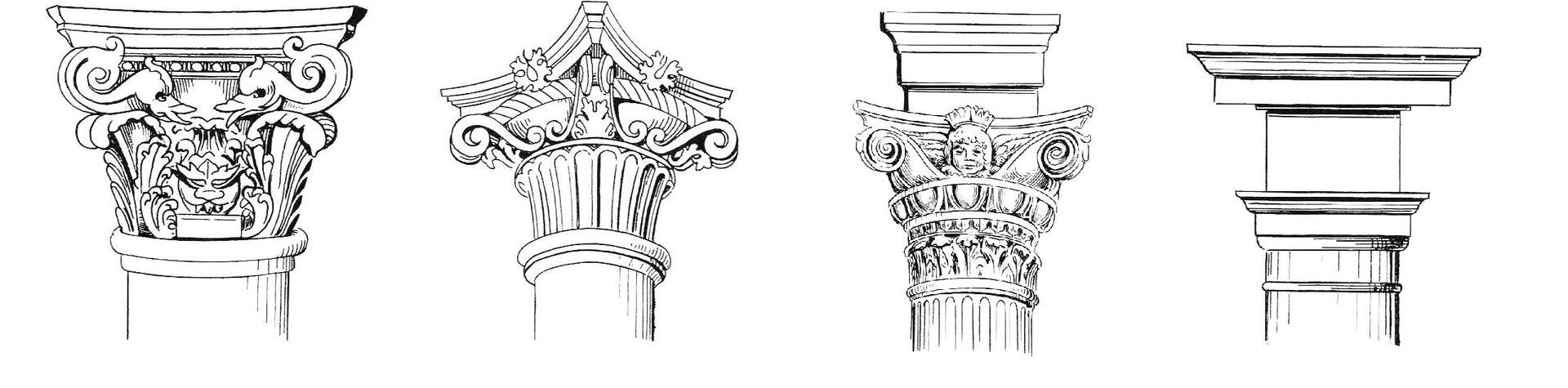 Ilustracja przedstawia szkic czterech przykładowych głowic renesansowych. Wszystkie głowice są rozbudowane. Trzy znich posiadają bogate zdobienia idekoracje wpostaci ornamentów oraz motywów kwiatowych.