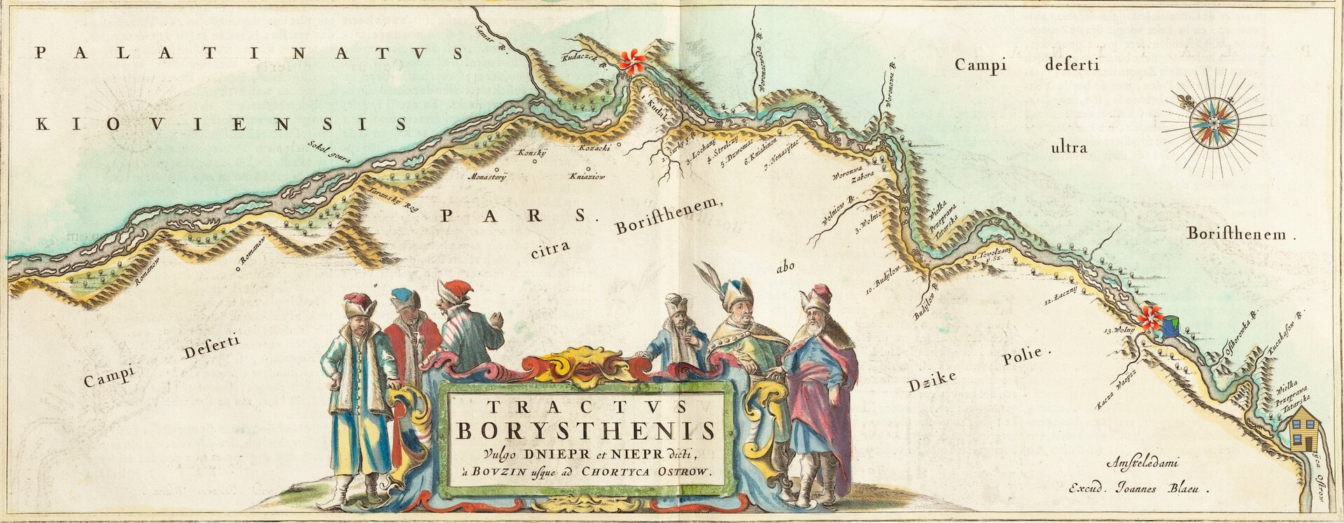 Tractus Borysthenis (fragment) Fragment mapy okolic Dniepru,wykonanej przez Willema Blaeu w1662 roku. Czerwonymi ikonkami oznaczono początek ikoniec porohów, makietą domu - wyspę Chortyca, akubełkiem zmocno już nieświeżą kaszą - Kaszewarnicę. Źródło: Willem Blaeu, Tractus Borysthenis (fragment), 1662, licencja: CC 0.