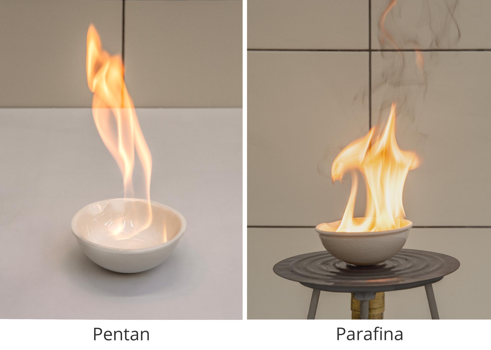 Grafika składająca się z2 zdjęć przedstawiających spalanie pentanu iparafiny zdobrze widocznymi płomieniami.