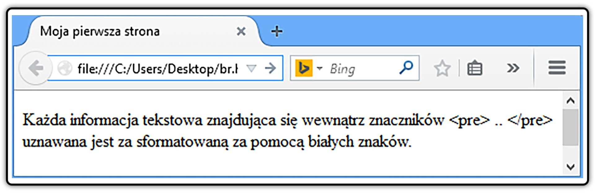 Zrzut widoku strony dokumentu HTML zwidocznym efektem zastosowania znaków specjalnych tzw. encji HTML