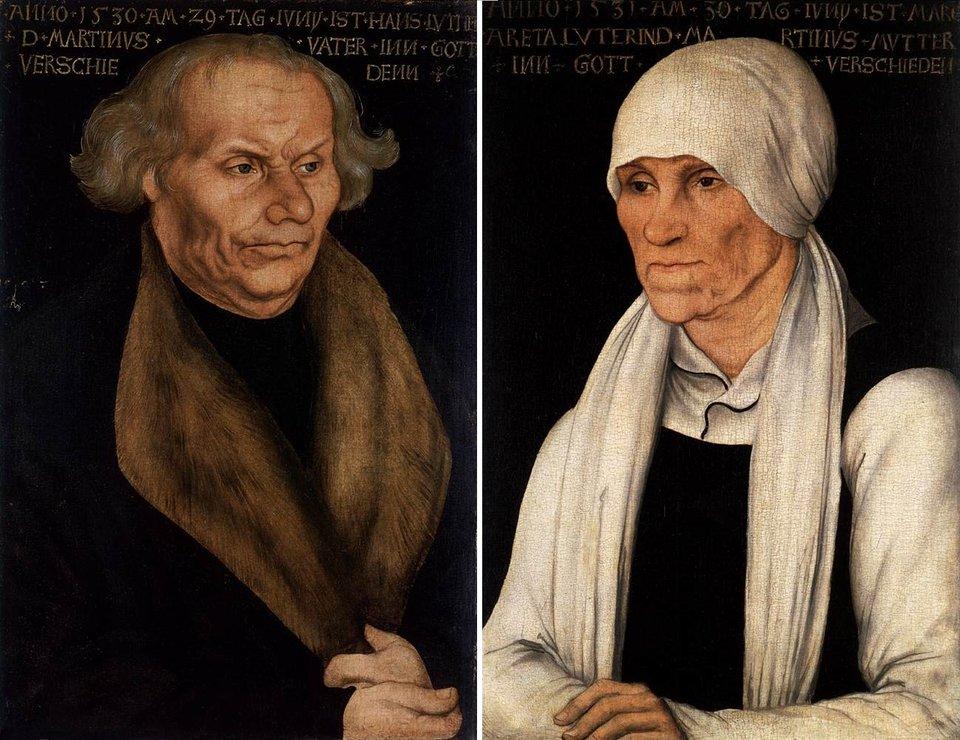 Rodzice Lutra – portrety Duerera Źródło: Lucas Cranach starszy, Rodzice Lutra – portrety Duerera, 1527, bukowe drewno, Wartburg-Stiftung, domena publiczna.