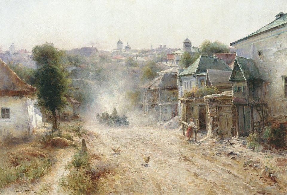 Street in Human Ulica wHumaniu Źródło: Mihail Berkos, Street in Human, 1895, olej na płótnie, Muzeum Sztuki wCharkowie, domena publiczna.