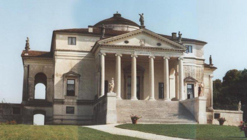 """Jedno znajsłynniejszych dzieł Palladia """"Villa Rotonda"""" wmiejscowości Vicenza wpółnocno-wsch. Włoszech. Jedno znajsłynniejszych dzieł Palladia """"Villa Rotonda"""" wmiejscowości Vicenza wpółnocno-wsch. Włoszech. Źródło: Tzzzpfff, Wikipedia Commons, licencja: CC BY-SA 3.0."""