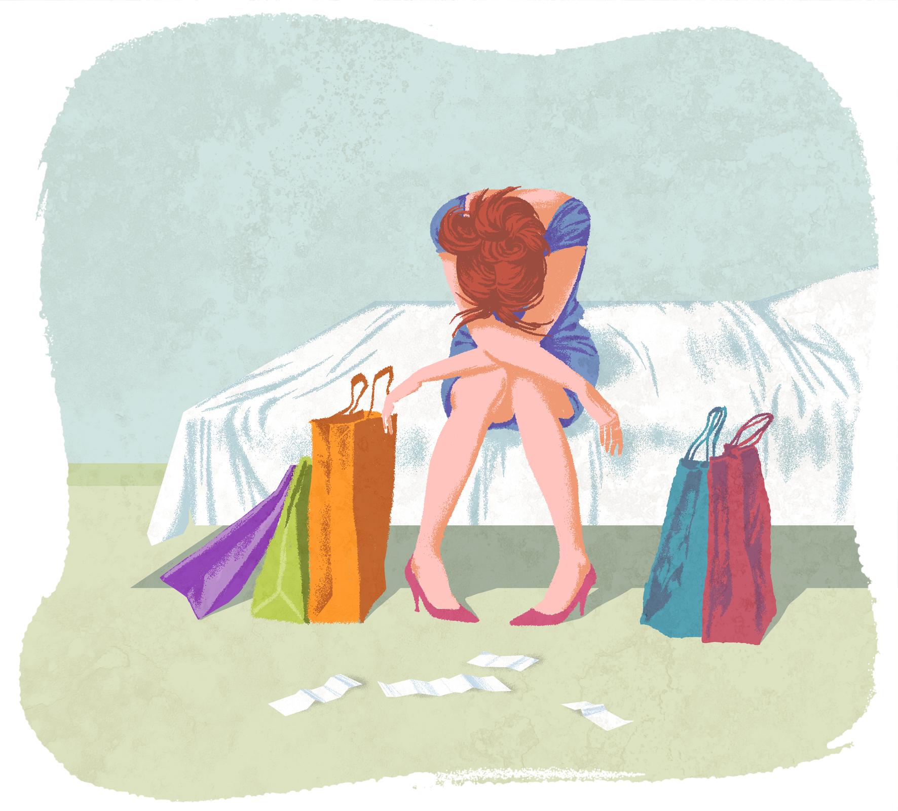Na brzegu łóżka siedzi dziewczyna wniebieskiej sukience. Ramiona ma skrzyżowane na kolanach, głowę opuszczoną. Jej postawa wyraża rozpacz irezygnację. Po jej obu stronach na podłodze stoją kolorowe torby zzakupami.