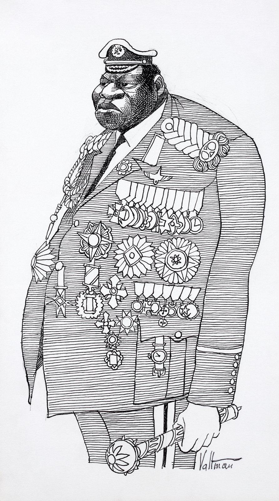 Amin - karykatura Źródło: Edmund S. Valtman, Amin - karykatura, Biblioteka Kongresu Stanów Zjednoczonych, domena publiczna.