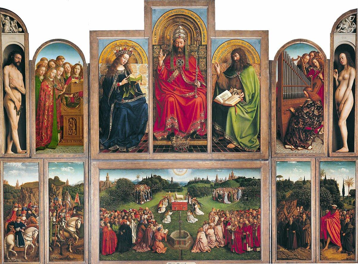 Ołtarz Gandawski Źródło: Hubert van Eyck, Jan van Eyck, Ołtarz Gandawski, 1425–1433, tempera / olej na desce, katedra św. Bawona wGandawie, domena publiczna.