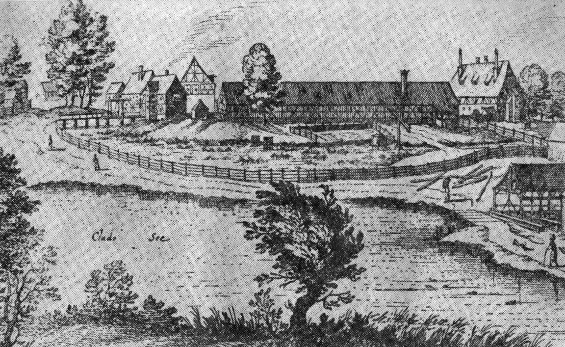 Folwark klasztorny wMironicach (wówczas: Himmelstadt) w1650 r., woj. lubuskie. Folwark klasztorny wMironicach (wówczas: Himmelstadt) w1650 r., woj. lubuskie. Źródło: M. Merian, Wikimedia Commons, domena publiczna.