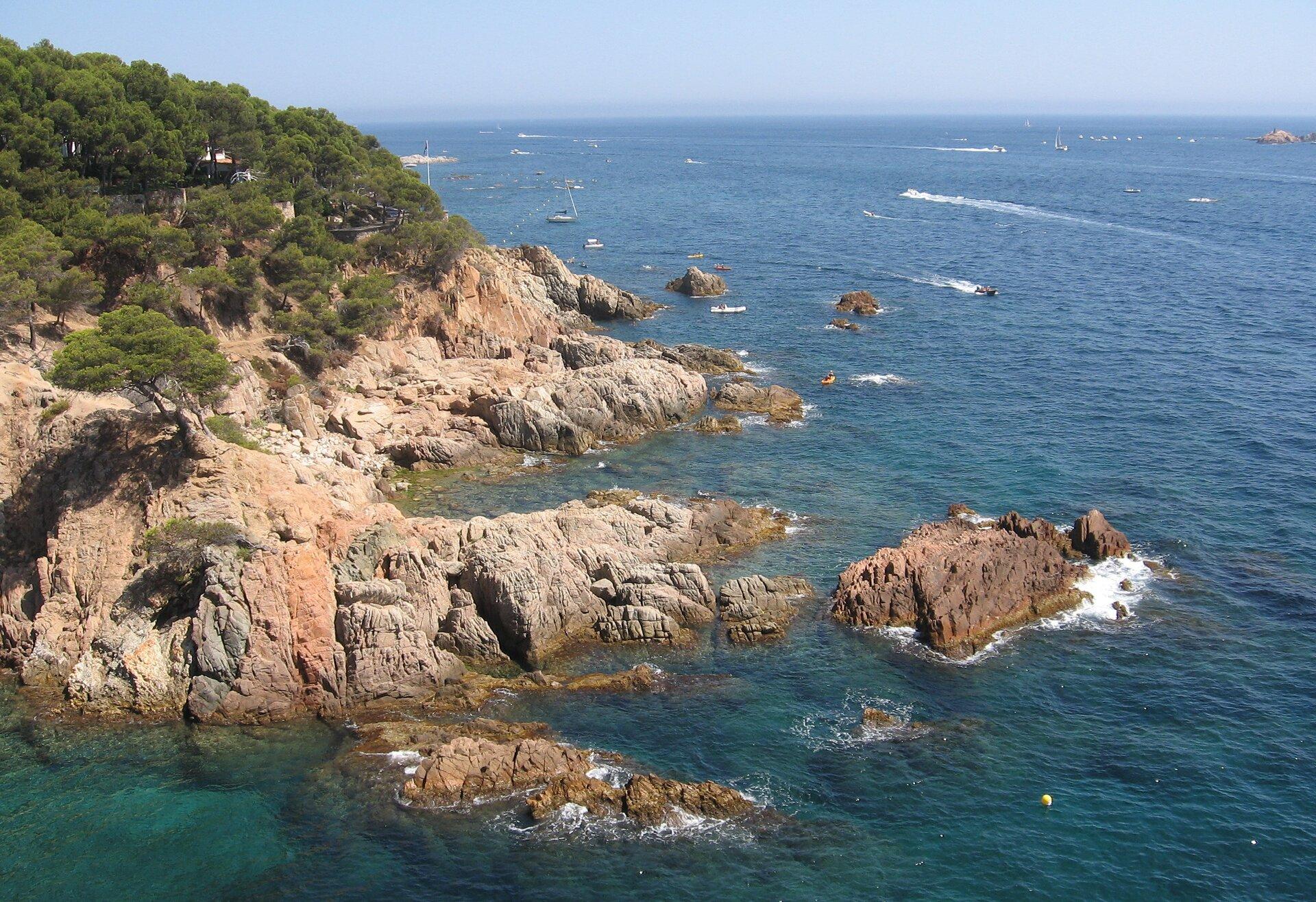 Na zdjęciu wysoki, skalisty brzeg morski, wyżej porośnięty lasem iglastym. Zprawej strony morze, żaglówki.