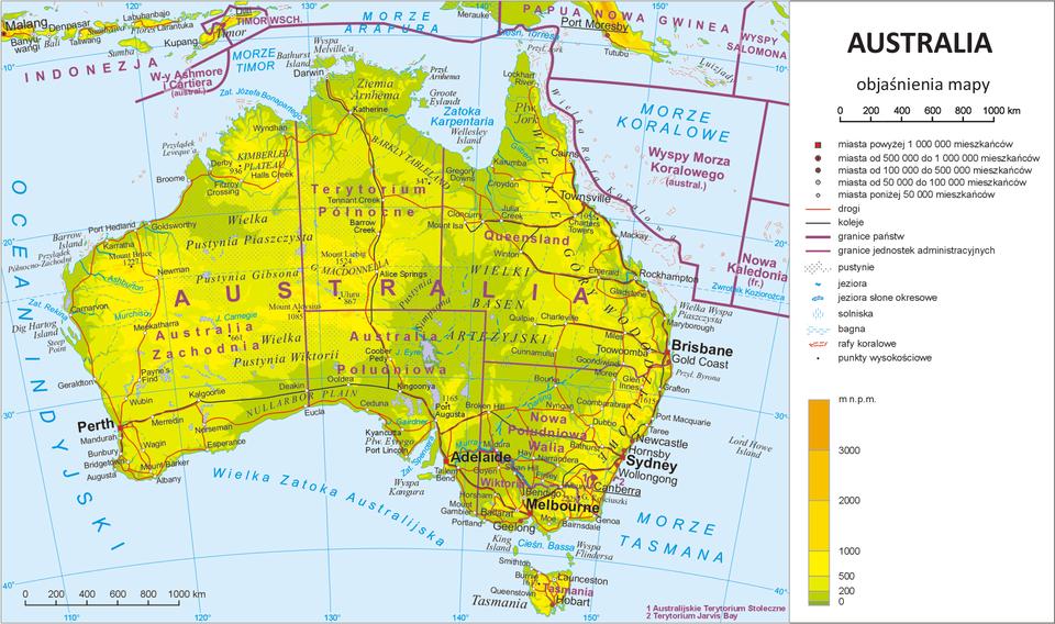Ilustracja przedstawia mapę przeglądową Australii. Mapa ma kształt prostokąta. Dłuższe boki prostokąta ułożone poziomo. Lądy mają kolory od zielonego poprzez żółty do pomarańczowego. Morza ioceany są jednolicie niebieskie. Po prawej stronie mapy znajduje się legenda. Legenda zawiera objaśnienia dotyczące znaków użytych na mapie, największe miasta, punkty wysokościowe, drogi, koleje, granice, pustynie, jeziora, solniska, bagna, rafy koralowe, punkty wysokościowe. Na górze legendy jest tytuł mapy: Australia. Poniżej podziałka liniowa wyrażona wkilometrach. Na dole legendy znajduje się długi pionowy prostokąt podzielony na fragmenty, gdzie zboku opisana jest wysokość wmetrach nad poziomem morza. Najniższy fragment to kolor zielony oznaczający wysokość do dwustu metrów nad poziomem morza. Odpowiednio wyżej znajdują się kolory jasnożółte icoraz intensywniejsze – aż do pomarańczowego. Im wyżej jest ukształtowany teren tym kolory są cieplejsze. Powierzchnia mapy pokryta jest siatką kartograficzną. Na obrzeżach mapy, na południkach irównoleżnikach, zapisane są współrzędne długości iszerokości geograficznej. Na powierzchni Australii przeważają kolory żółte izielone. Czerwone poziome ipionowe linie wyznaczają poszczególne terytoria Australii. Wokół kontynentu oznaczone są iopisane zatoki, morza iocean. Na mapie znajdują się nazwy największych miast takie jak Sydney, Adelaide, Melbourne.