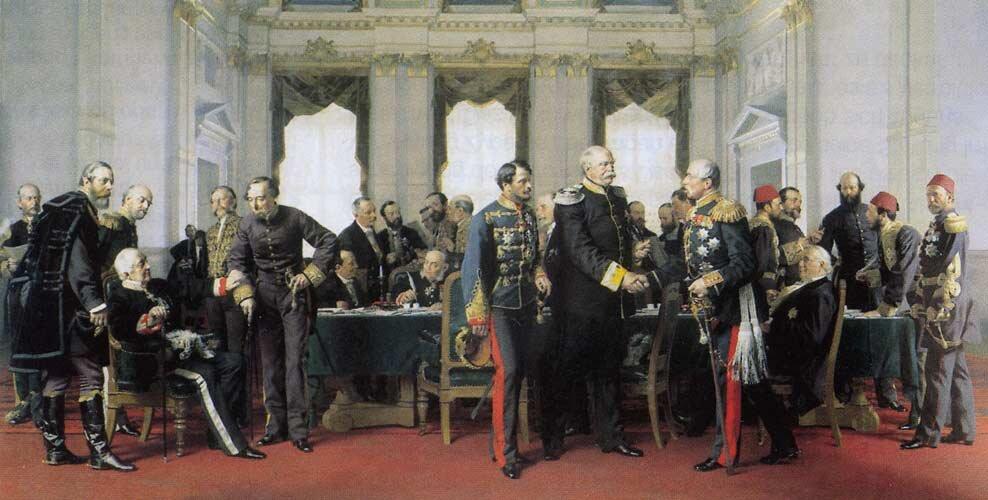 Kongres wBerlinie w1878 roku Źródło: Anton von Werner, Kongres wBerlinie w1878 roku, 1881, olej na płótnie, ratusz wBerlinie, domena publiczna.