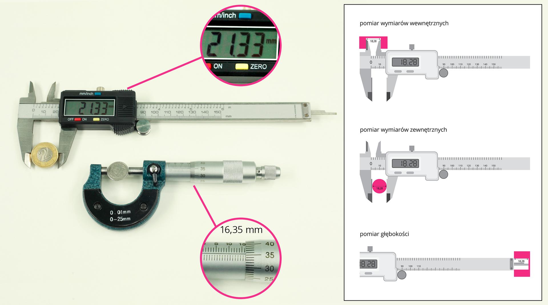 Ilustracja przedstawia przyrządy służące do precyzyjnych pomiarów długości: suwmiarkę iśrubę mikrometryczną.