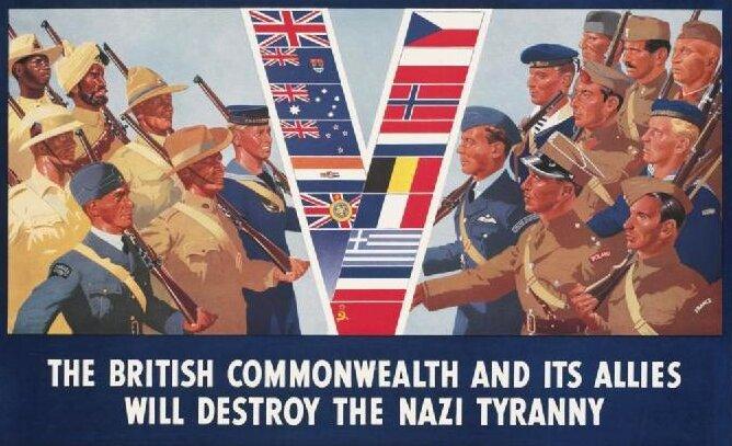 Brytyjska Wspólnota Narodów ijej sojusznicy zniszczą nazistowską tyranię Źródło: Brytyjska Wspólnota Narodów ijej sojusznicy zniszczą nazistowską tyranię, Imperialne Muzeum Wojny, domena publiczna.