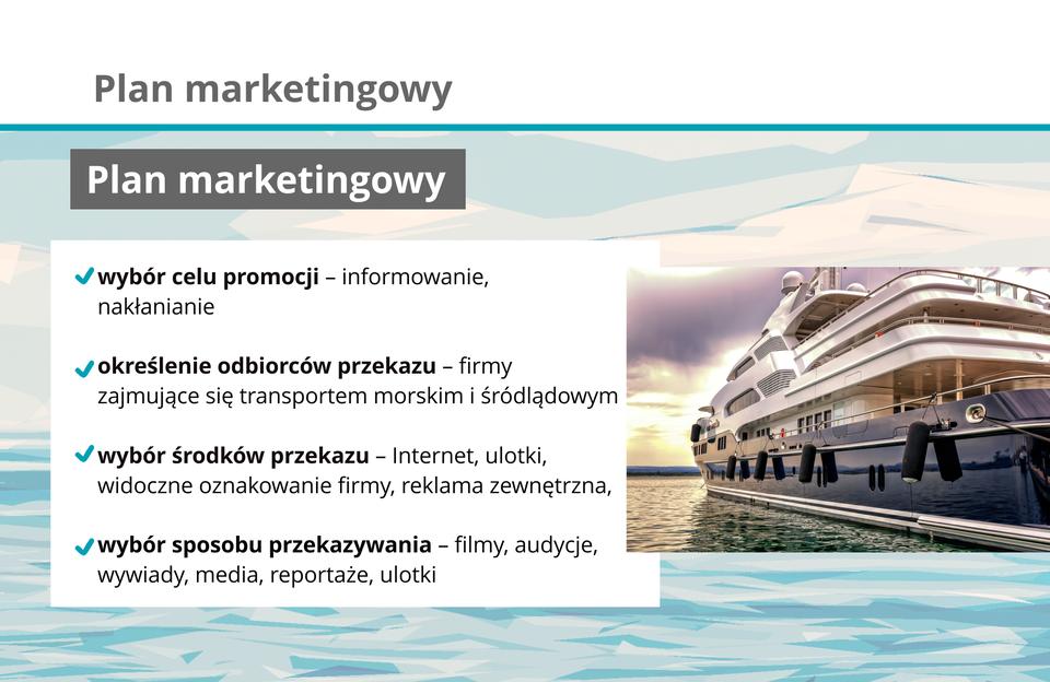 Grafika zawiera elementy tworzenia planu marketingowego.