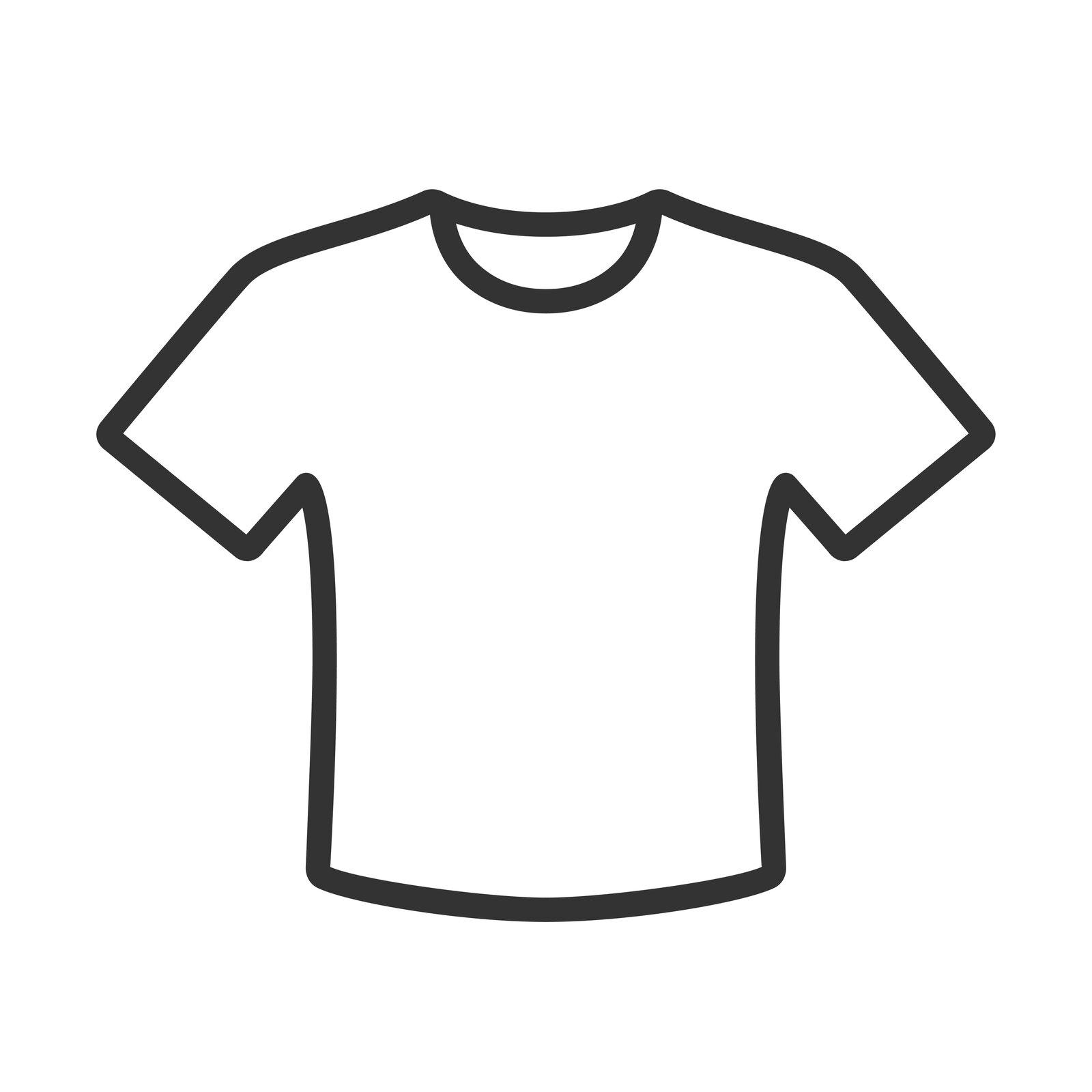 Zdjęcie przedstawia kontur koszulki zkrótkim rękawem.