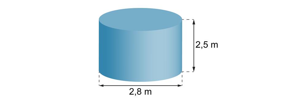 Rysunek walca owysokości równej 2,5 miśrednicy podstawy 2,8 m.