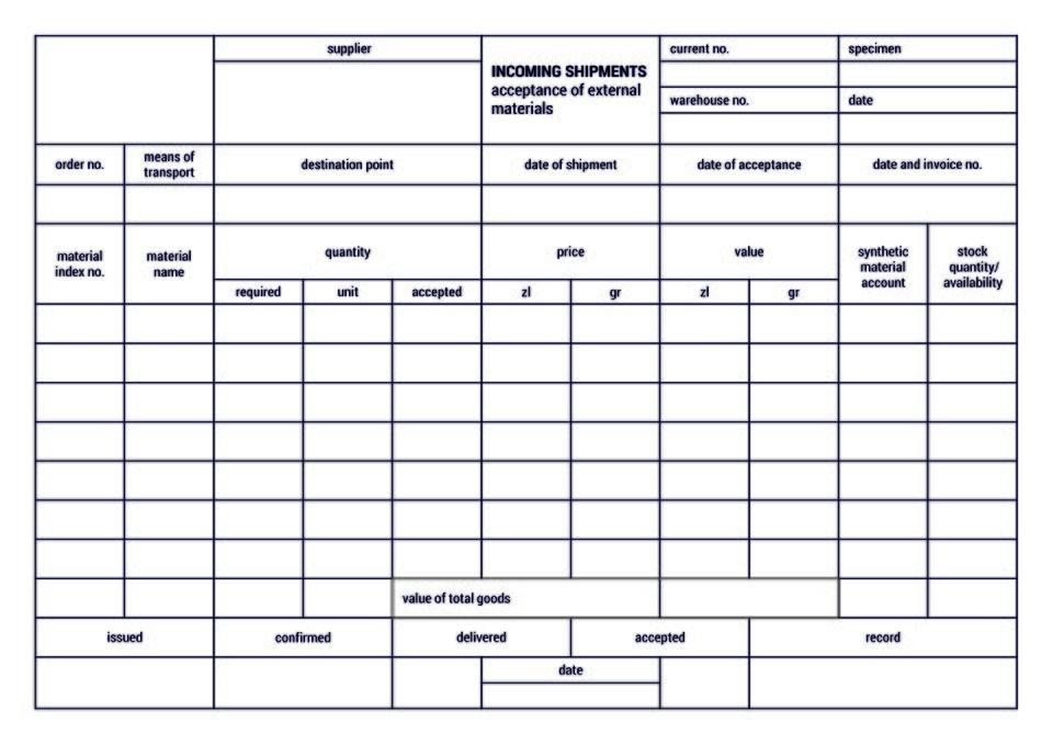 The material contains asample document for the acceptance of external goods to awarehouse.Materiał zawiera wzór dokument przyjęcia towaru zewnętrznego do magazynu.