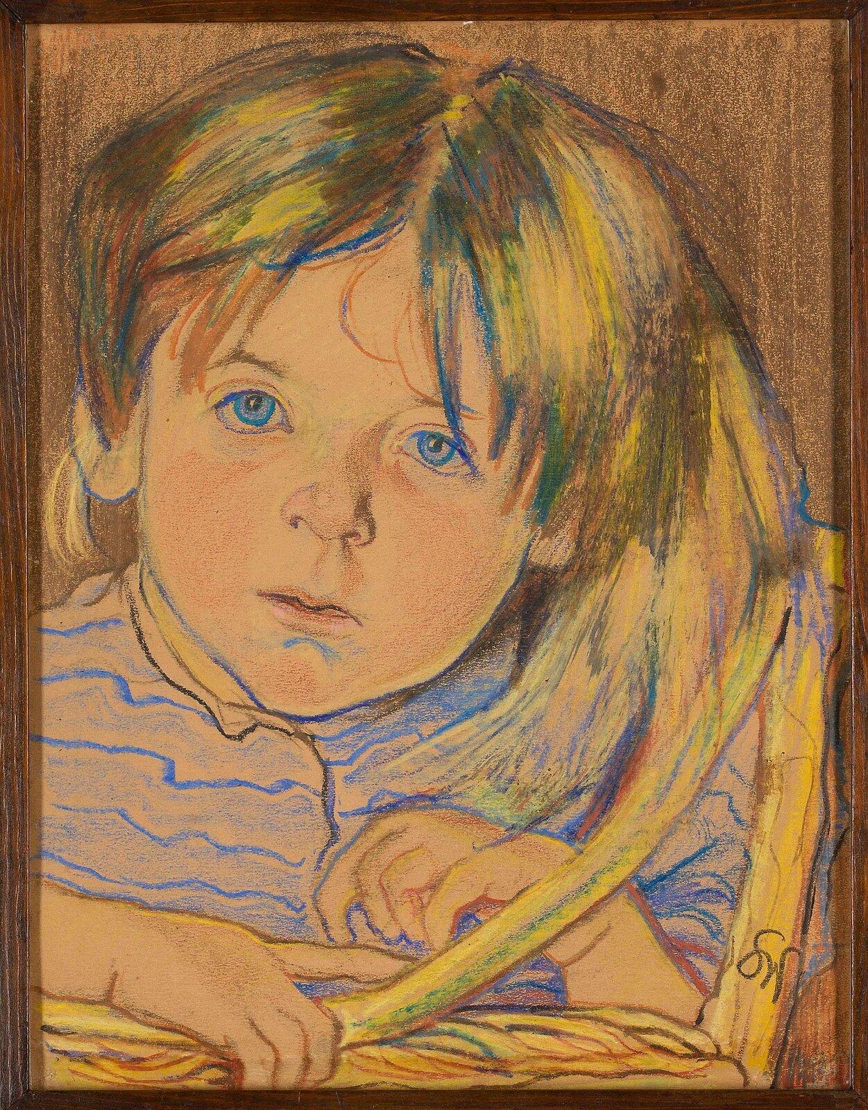 """Ilustracja przedstawia obraz """"Portret dziecka"""" autorstwa Stanisława Wyspiańskiego. Dzieło ukazuje pastelowy portret dziewczynki opartej ofragment kołyski. Postać ubrana jest wjasno niebieską bluzkę wcienkie paski zkołnierzykiem. Uczesane zprzedziałkiem, proste włosy opadają na czoło. Uchylone usta oraz niebieskie, jakby zaspane oczy nadają twarzy wyraz zdziwienia. Kompozycja utrzymana jest wharmonijnej, beżowo-niebiesko-żółtej tonacji. Dzieło wykonane jest techniką pasteli ioprawione wcienką drewnianą ramkę."""