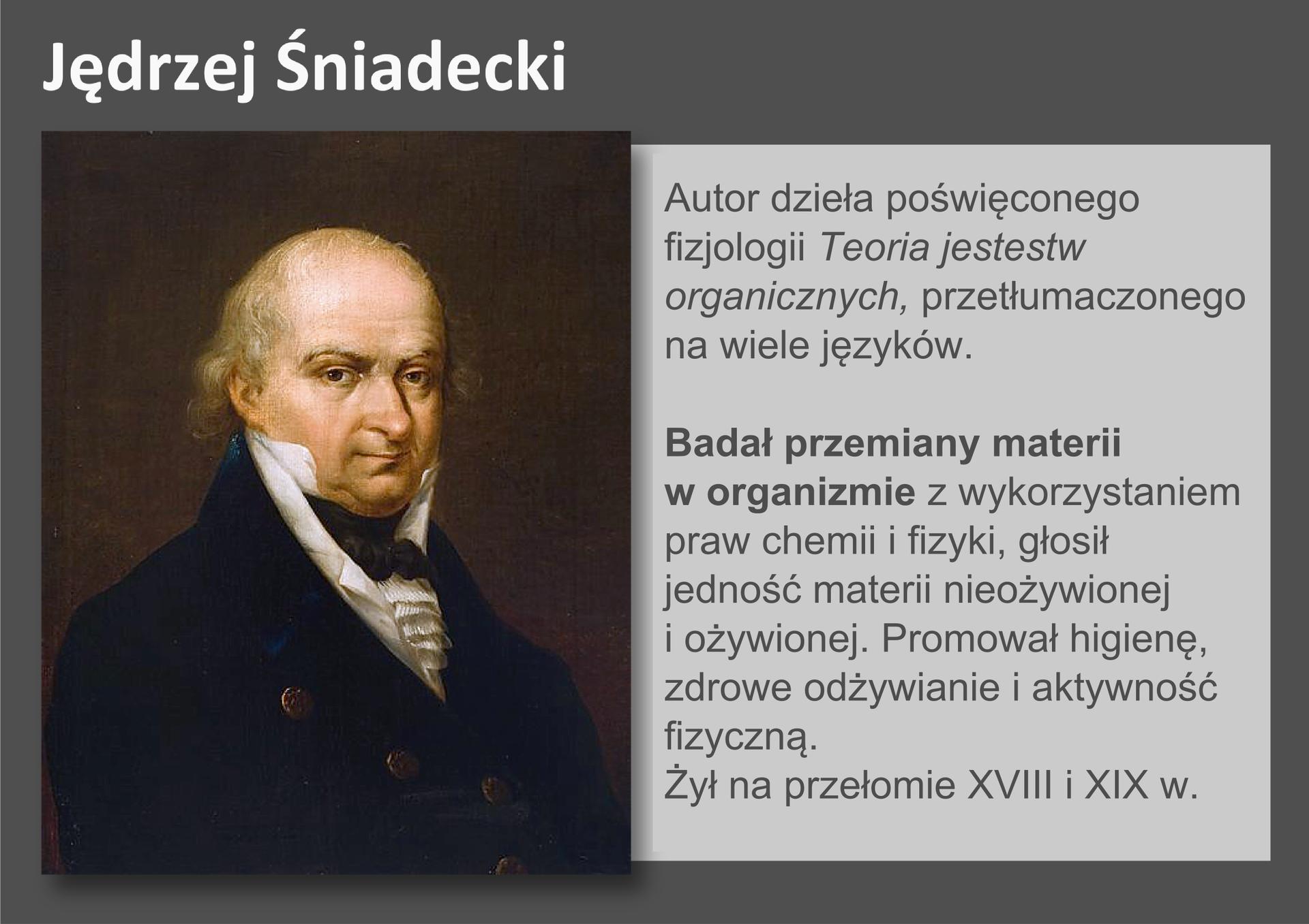 Galeria przedstawia pionierów nauk przyrodniczych. Składa się zdziewięciu slajdów wpostaci ilustracji iumieszczonego obok opisu. Ilustracje pojawiają się kolejno, kiedy klika się wstrzałki, znajdujące się po prawej ilewej stronie ilustracji. Czwarty slajd to kolorowy portret polskiego uczonego, Jędrzeja Śniadeckiego, który żył na przełomie dziewiętnastego idwudziestego wieku. Nie ma peruki, widać łysinę itrochę siwych włosów. Ubrany jest wczarny surdut , białą kamizelkę ikoszulę, apod szyją ma zawiązany czarny fular (szalik). Śniadecki badał fizyczne ichemiczne przemiany materii worganizmie, promował higienę, zdrowe odżywianie iaktywność fizyczną.