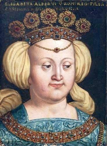 Małżonka Kazimierza JagielończykaElżbieta Rakuszanka zdynastii Habsburgów (portret zXVI wieku). Nazywano ją czasem matką królów. To określenie bierze się stąd, że czterej jej synowie zostali koronowani na królów Małżonka Kazimierza JagielończykaElżbieta Rakuszanka zdynastii Habsburgów (portret zXVI wieku). Nazywano ją czasem matką królów. To określenie bierze się stąd, że czterej jej synowie zostali koronowani na królów Źródło: Antoni Boys, 1579-1587, olej na desce, domena publiczna.