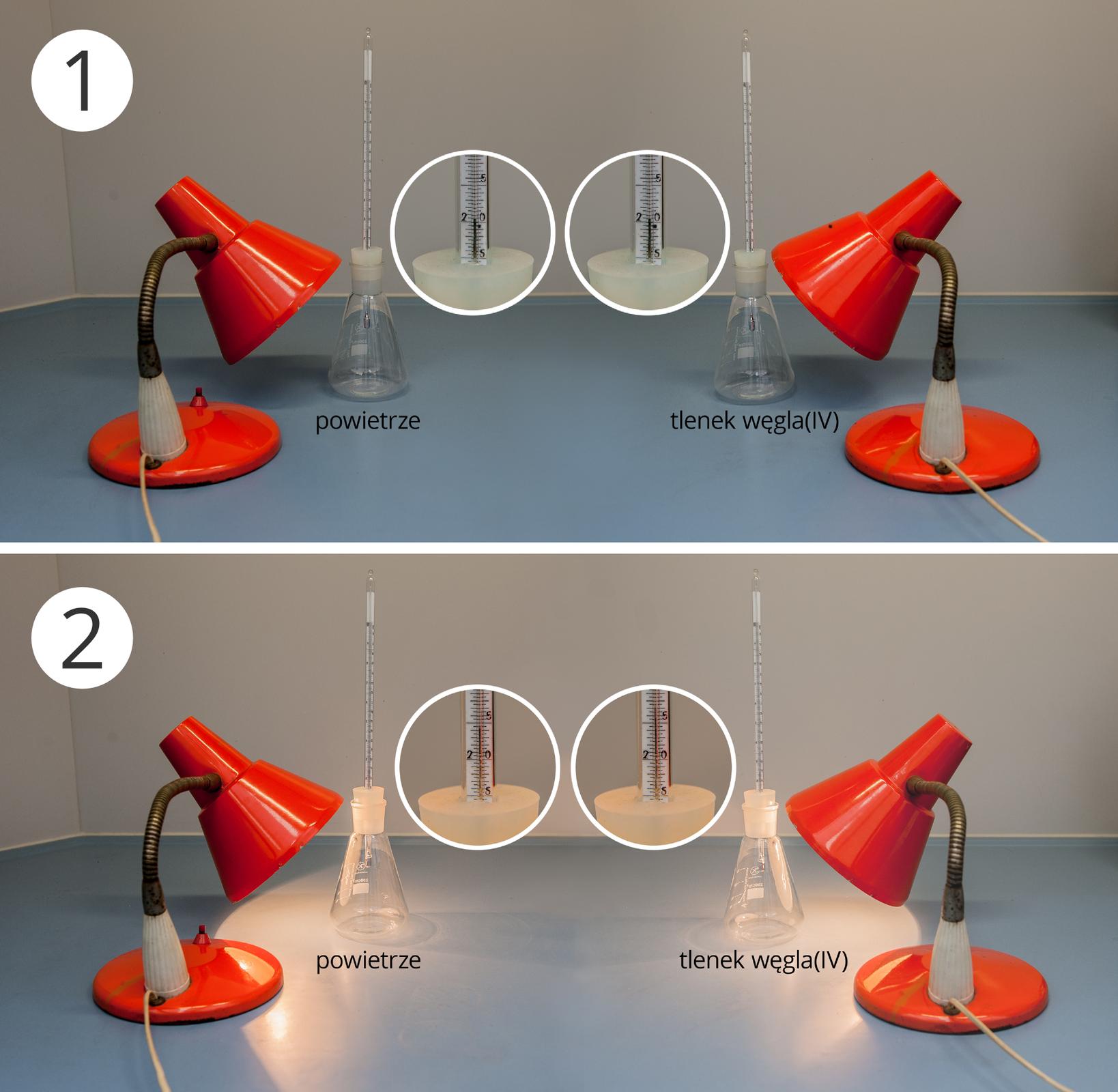 Ilustracja składa się zdwóch zdjęć przedstawiających początkową ikońcową fazę jednego doświadczenia. Zestaw doświadczalny składa się zdwóch kolb stożkowych zatkanych gumowymi korkami. Każdy korek ma otwór, przez który przeciągnięto termometr laboratoryjny. Zawartość lewej kolby to powietrze, alewej dwutlenek węgla. Na obie kolby skierowane są małe lampki biurowe. Pośrodku fotografii znajdują się okręgi zawierające zbliżenia podziałki termometru wmiejscach wskazywanych przez podziałki. Górne zdjęcie przedstawia stan początkowy. Lampki zgaszone, oba termometry wskazują około 21 stopni Celsjusza. Dolne zdjęcie przedstawia stan wtrakcie trwania doświadczenia. Lampki włączone. Termometr kolby lewej wskazuje 24,5 stopnia Celsjusza, natomiast termometr zprawej 27 stopni Celsjusza.