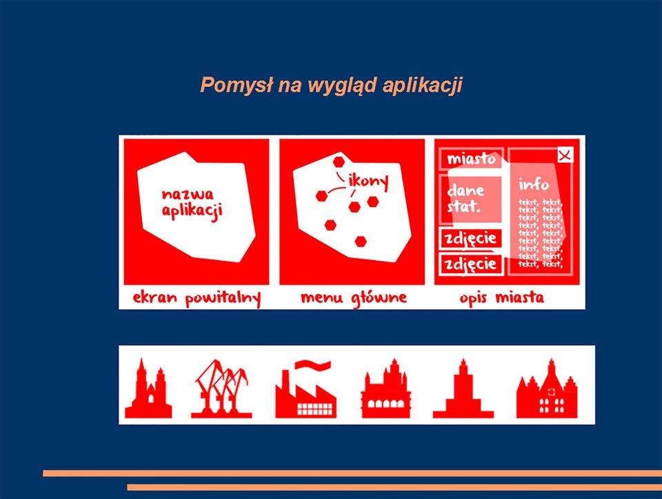 Widok slajdu ilustrującego pomysły wyglądu planowanej aplikacji