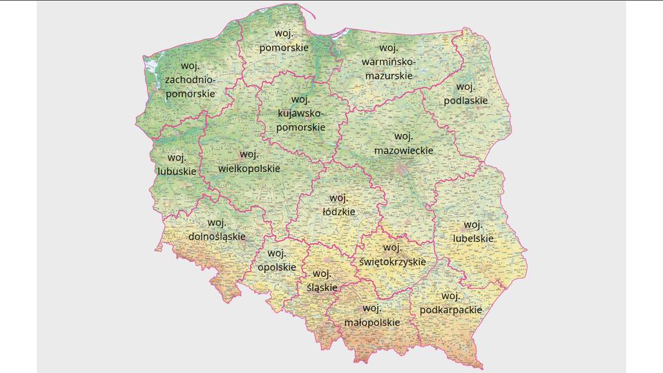 Mapy hipsometryczne województw