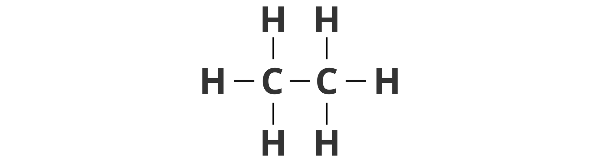 Ilustracja przedstawia wzór strukturalny etanu, na który składają się dwa atomy węgla isześć atomów wodoru. Atomy węgla połączone są ze sobą wiązaniem pojedynczym, aponadto do każdego atomu węgla przyłączone są po trzy atomy węgla. Jeden zgóry, jeden zdołu ijeden zboku od strony przeciwległej do sąsiadującego atomu węgla.