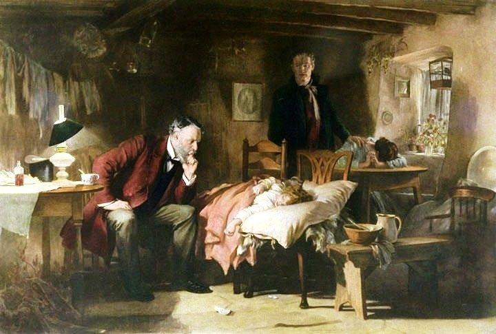 Doktor Źródło: Luke Fildes, Doktor, 1891, domena publiczna.