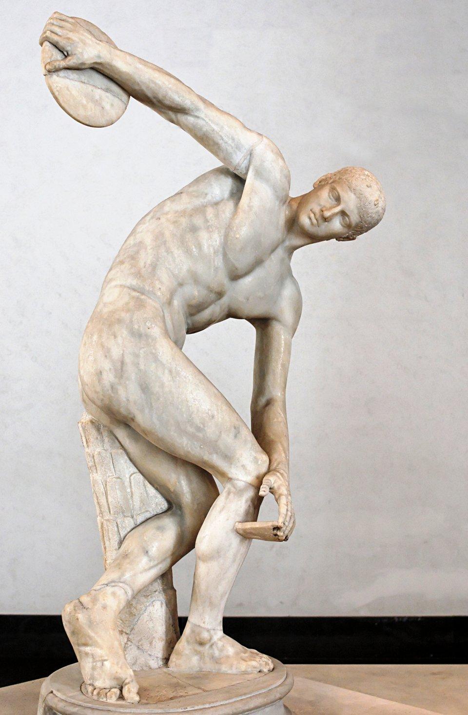 Dyskobol Źródło: Dyskobol, Iw. n.e., Muzeum Narodowe, Rzym, domena publiczna.