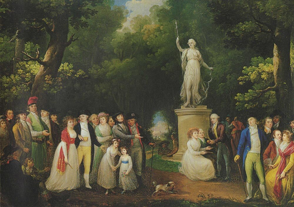 Zebranie towarzyskie wparku Źródło: Kazimierz Wojniakowski, Zebranie towarzyskie wparku, 1797, olej na płótnie, Muzeum Narodowe wWarszawie, domena publiczna.