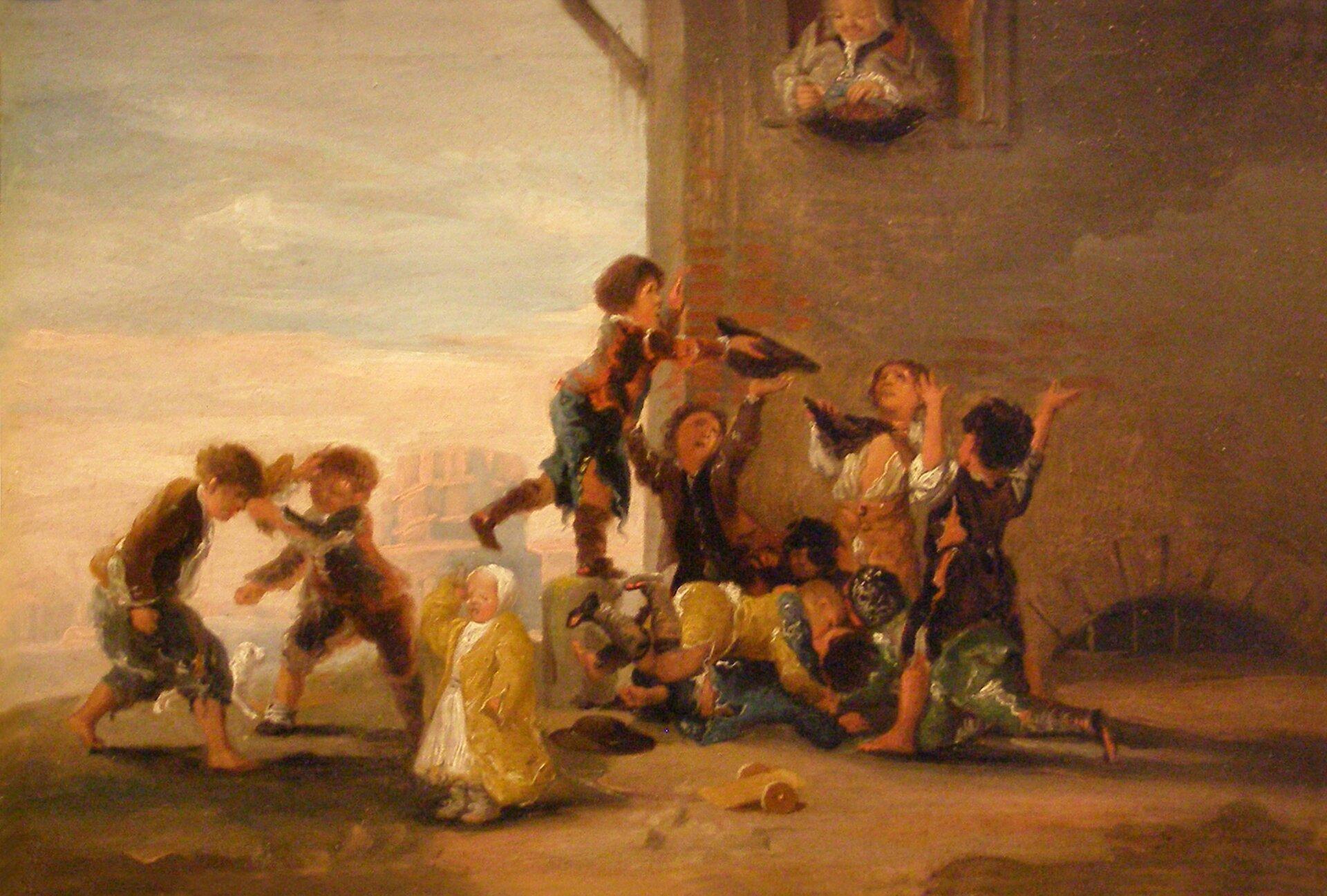 Zabawy dziecięce Dzieci bijące się okasztany Źródło: Francisco Goya, Zabawy dziecięce, 1782–1785, domena publiczna.