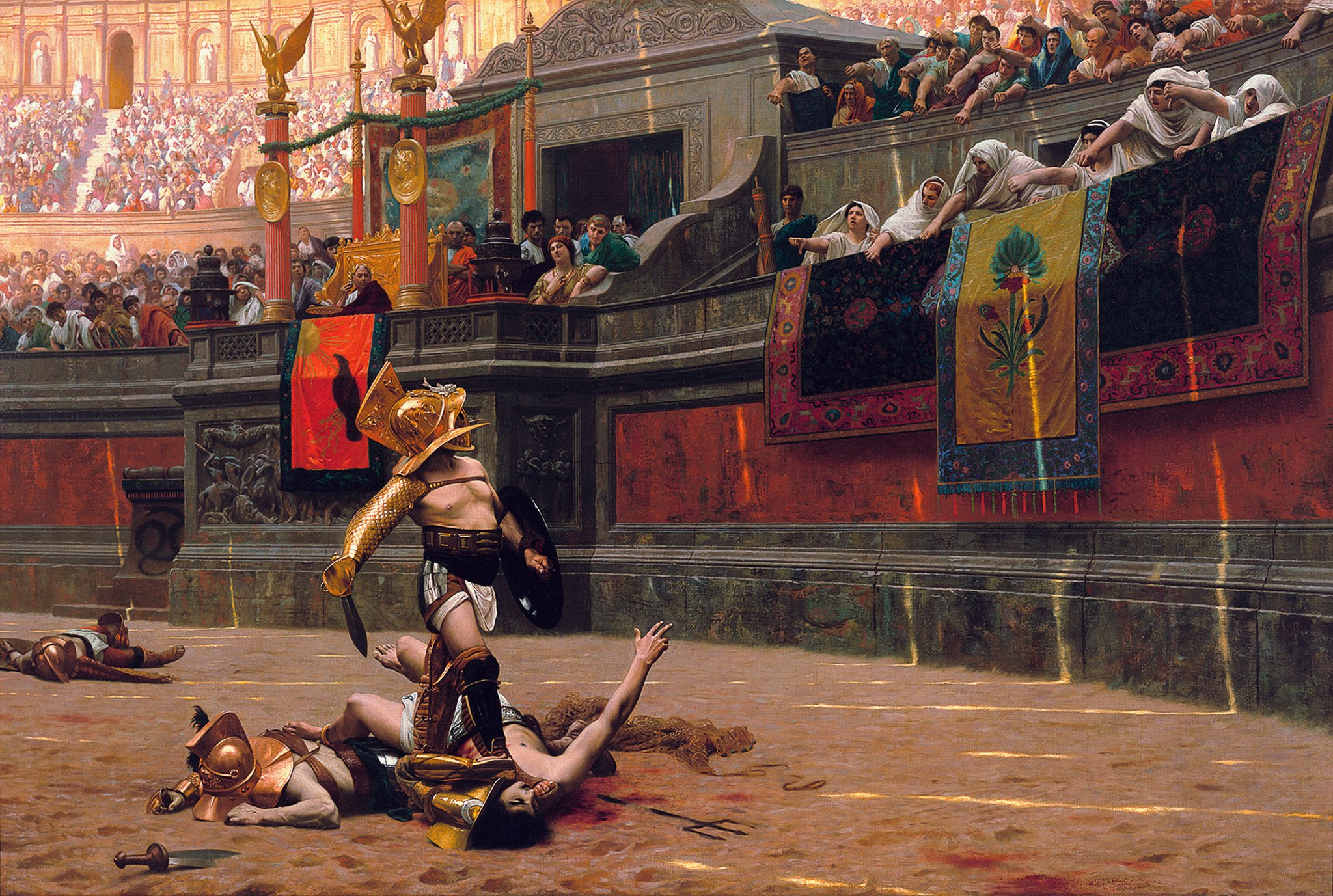 Na piaszczystej arenie otoczonej trybunami, na której siedzą widzowie leżą pokonani gladiatorzy. Na szyi jednego znich trzyma nogę ubrany wzłoty hełm, trzymający wjednym ręku mały miecz, awdrugim tarczę, gladiator, który wygrał walkę. Patrzy na trybuny, na których siedzą kobiety wbiałych szatach iwyciągniętymi rękami pokazują kciuki wdół.Za kobietami na przyozdobionej kwiatami trybunie honorowej siedzi na złotym tronie mężczyzna wzłotym wieńcu na głowie.