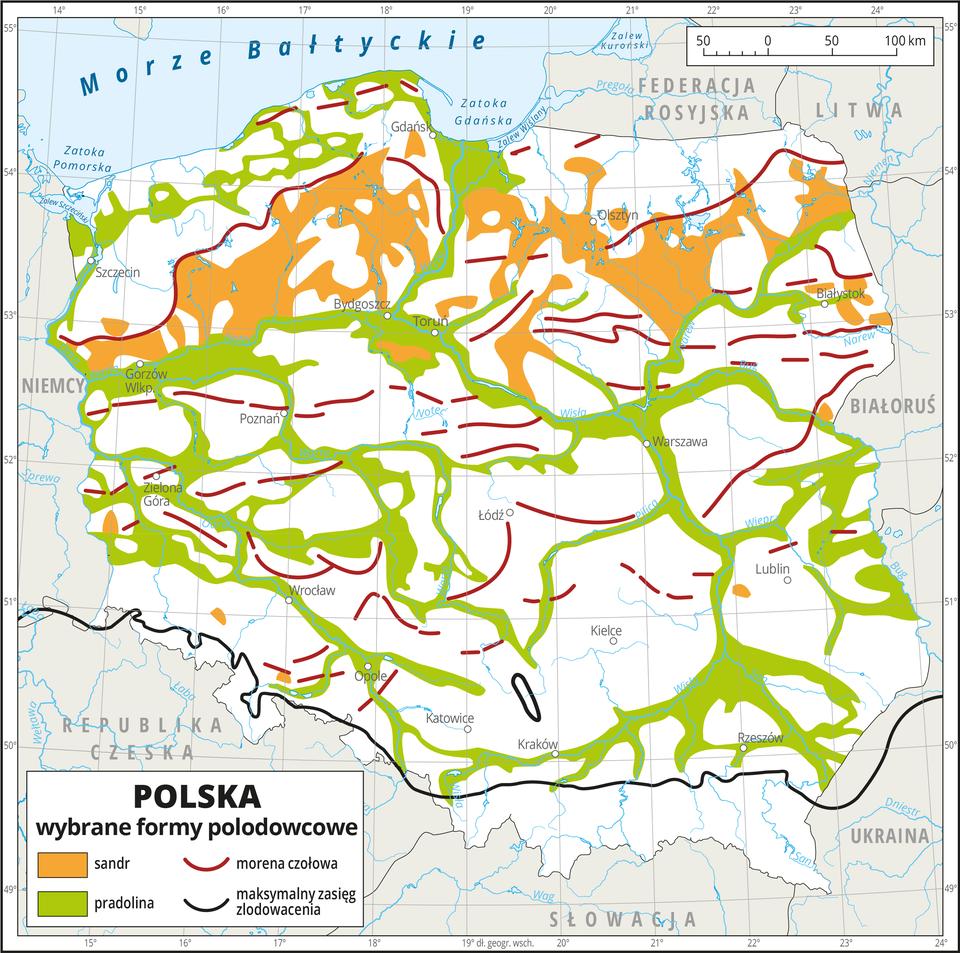 Ilustracja przedstawia mapę Polski. Na mapie przedstawiono wybrane formy polodowcowe.Na północy wrejonie pojezierzy biegnie nieregularny pas koloru pomarańczowego obrazującego sandry. Wzdłuż rzek iwpasie pobrzeży występuje kolor zielony obrazujący pradoliny.Czerwonymi przerywanymi liniami oznaczono moreny czołowe. Układają się one równoleżnikowo na całym obszarze mapy.Czarną linią zaznaczono maksymalny zasięg zlodowacenia, biegnie ona równoleżnikowo na południu Polski wzdłuż Przedgórza Sudeckiego iPodgórza Karpackiego.Dookoła mapy wbiałej ramce opisano współrzędne geograficzne co jeden stopień.