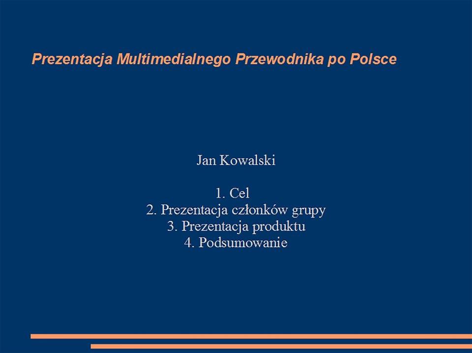 """Strona tytułowa \\\""""Multimedialnego przewodnika po Polsce\\\"""""""