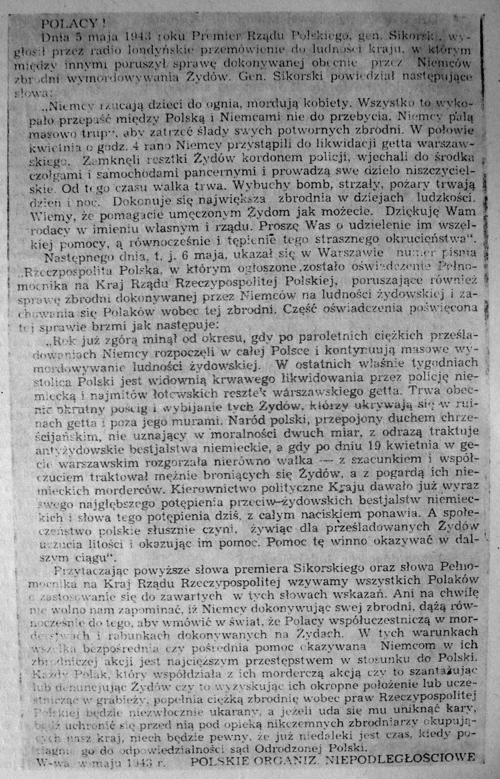 Ulotka rząduemigracyjnego Ulotka rząduemigracyjnego Źródło: Rada Pomocy Żydom Żegota, 1943, domena publiczna.