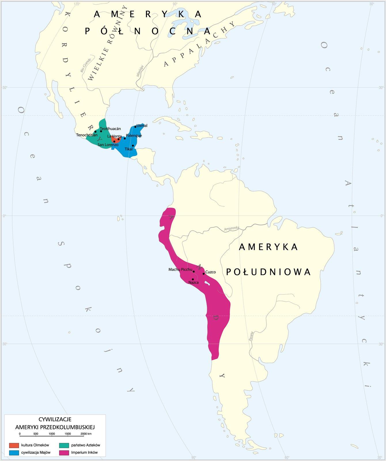 Ameryka Środkowa zzaznaczonymi kręgami cywilizacyjnymi Ameryka Środkowa zzaznaczonymi kręgami cywilizacyjnymi Źródło: Krystian Chariza izespół, licencja: CC BY 4.0.