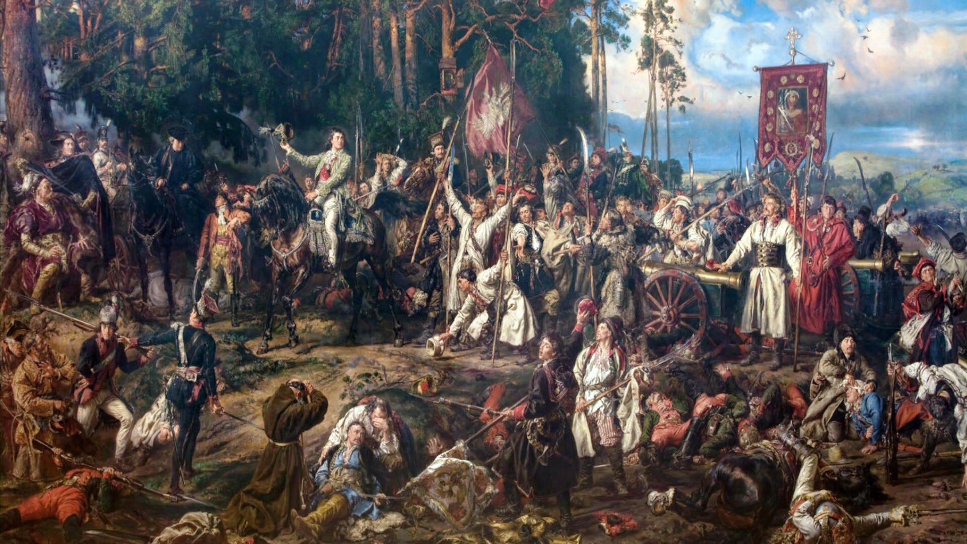 Kościuszko pod Racławicami Źródło: Jan Matejko, Kościuszko pod Racławicami, 1888, Olej na płótnie, domena publiczna.