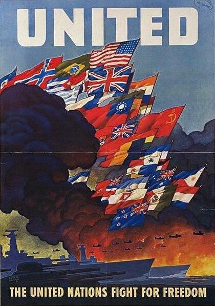 """""""Narody wwalce owolność"""" Źródło: Biuro Informacji Wojennej USA, """"Narody wwalce owolność"""", Biuro Informacji Wojennej USA, domena publiczna."""