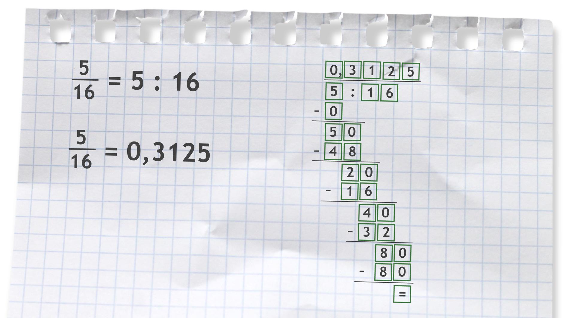 Przykład: pięć szesnastych =5 dzielone przez 16 =0,3125.
