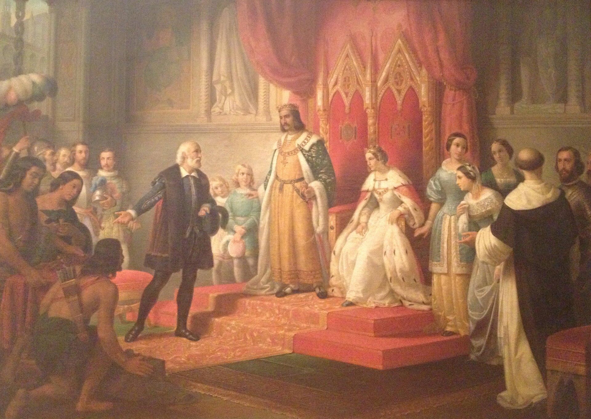 Kolumb informuje parę królewską odotarciu do nowego lądu Źródło: ClarkSui , Juan Cordero, Kolumb informuje parę królewską odotarciu do nowego lądu, 1850, Fotografia, Museo Nacional de Arte, licencja: CC BY-SA 3.0.