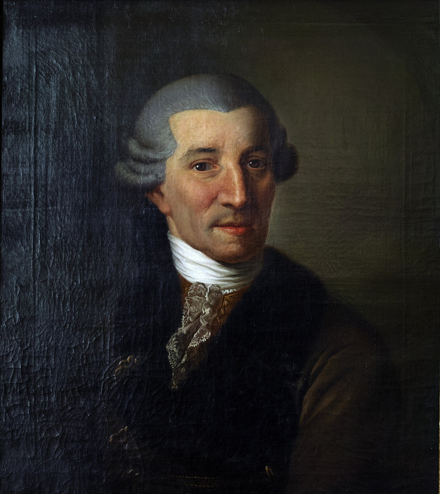 """Ilustracja przedstawia obraz Christiana Ludwiga Seehasa """"Portret Josepha Haydna"""". Na obrazie znajduje się austriacki kompozytor klasycyzmu Joseph Haydn. Mężczyzna ma równo ułożone siwe włosy. Ubrany jest wfutro. Pod szyją ma białą chustę."""