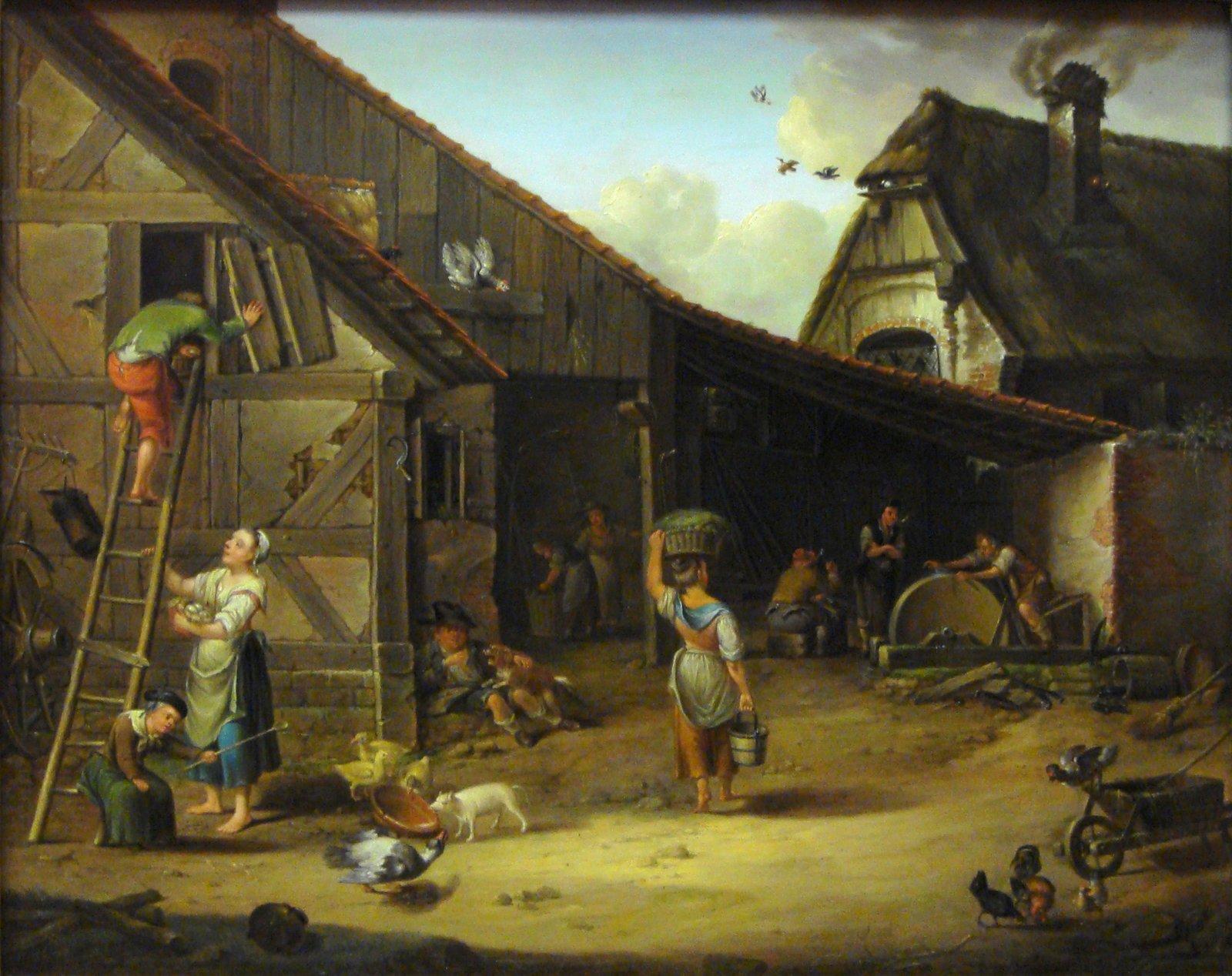 Gospodarstwo Zagroda chłopska Źródło: Johann Ludwig Ernst Morgenstern, Gospodarstwo, 1794, domena publiczna.