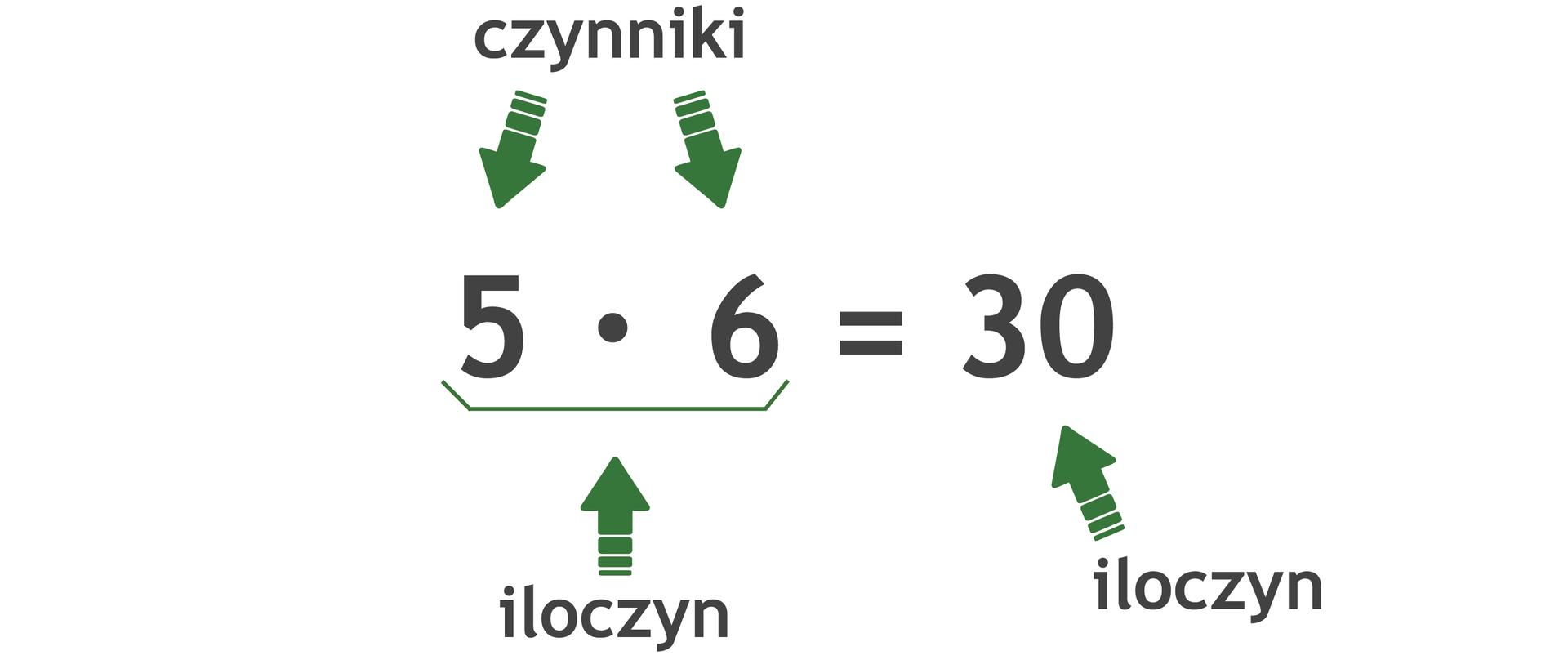 Działanie: 5 razy 6 =30. Liczby wmnożeniu to czynniki. Wynik mnożenia to iloczyn.