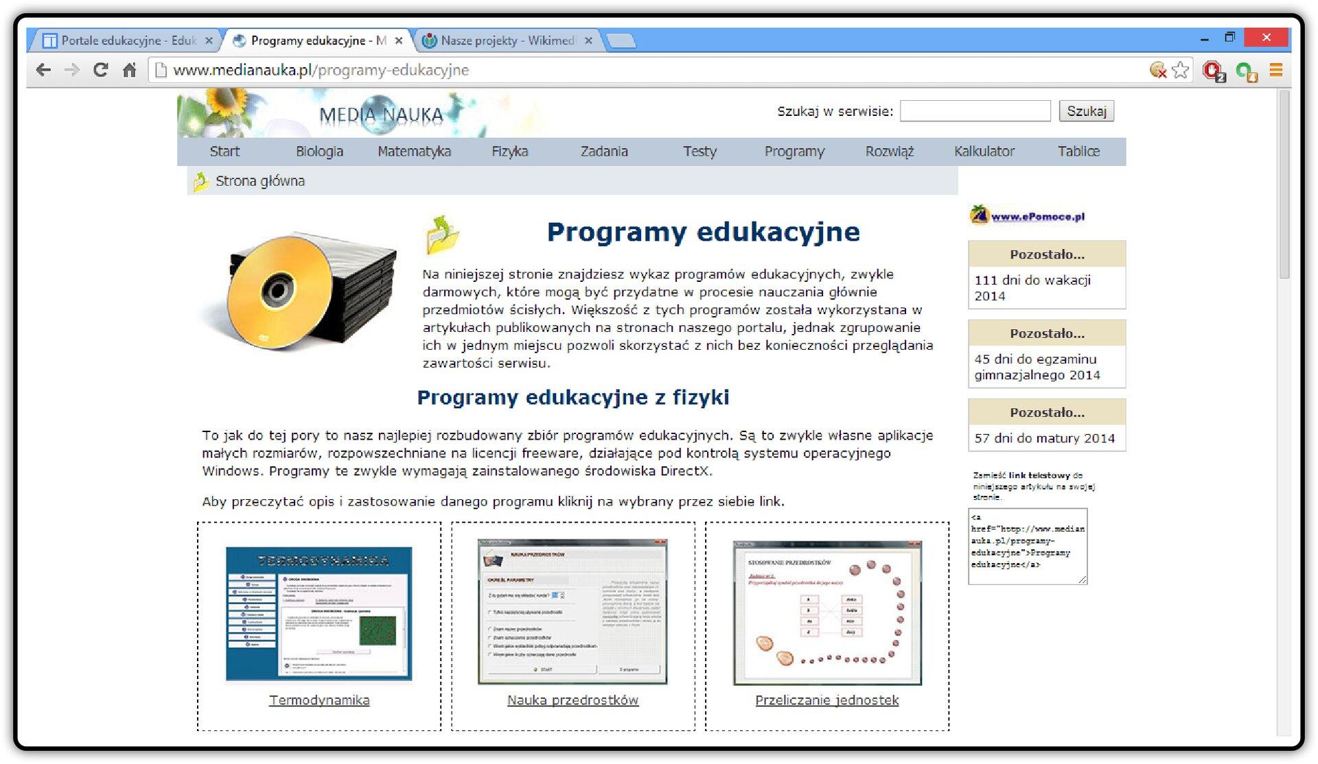 Zrzut okna strony http://www.medianauka.pl/