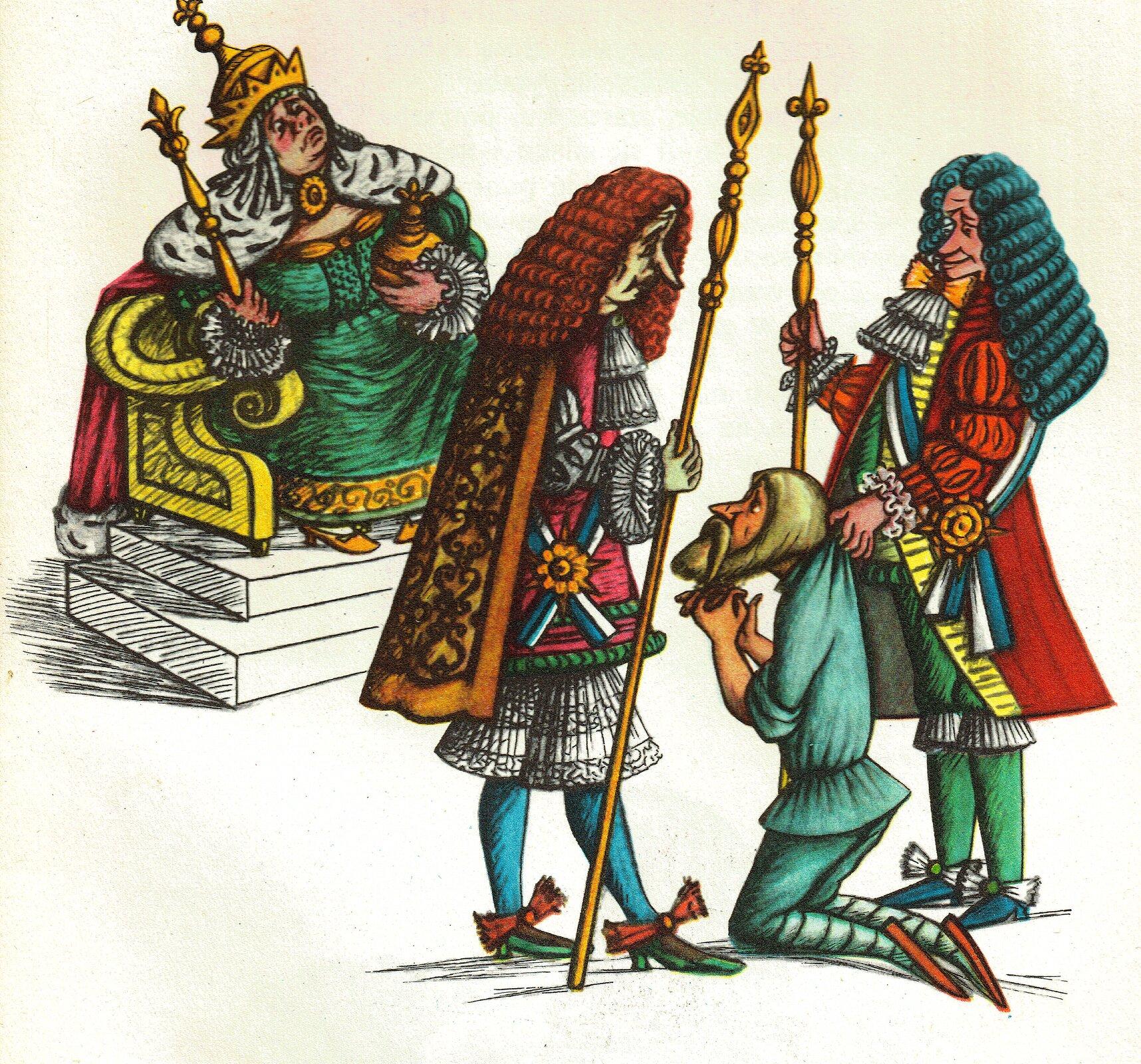 """Ilustracja przedstawia pracę Olgi Siemaszko zksiążki Juliana Tuwima """"Wiersze dla dzieci"""". Ukazuje siedzącą na tronie na tronie królową zberłem ijabłkiem wdłoniach, ubraną wdługą, zieloną suknię zprzypiętym kołnierzem zgronostaja. Na głowie ma wysoką koronę. Przed nią stoją dwaj dworzanie wperukach ibogatych strojach zwłóczniami wdłoniach. Jeden znich trzyma klęczącego poddanego, który składa ręce ibłaga olitość."""