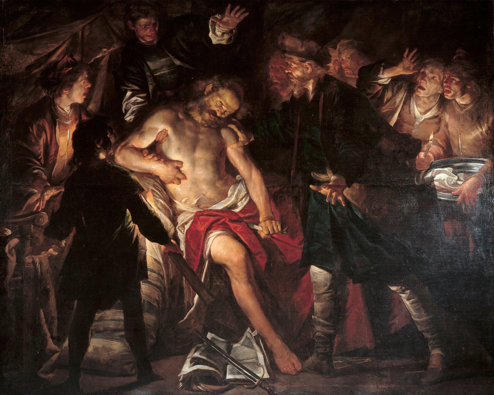 Samobójstwo Katona Młodszego Źródło: Gioacchino Assereto, Samobójstwo Katona Młodszego, 1640, Musei di Strada Nuova, domena publiczna.