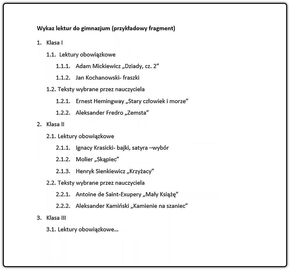Slajd 2 galerii list wielopoziomowych punktowanych inumerowanych
