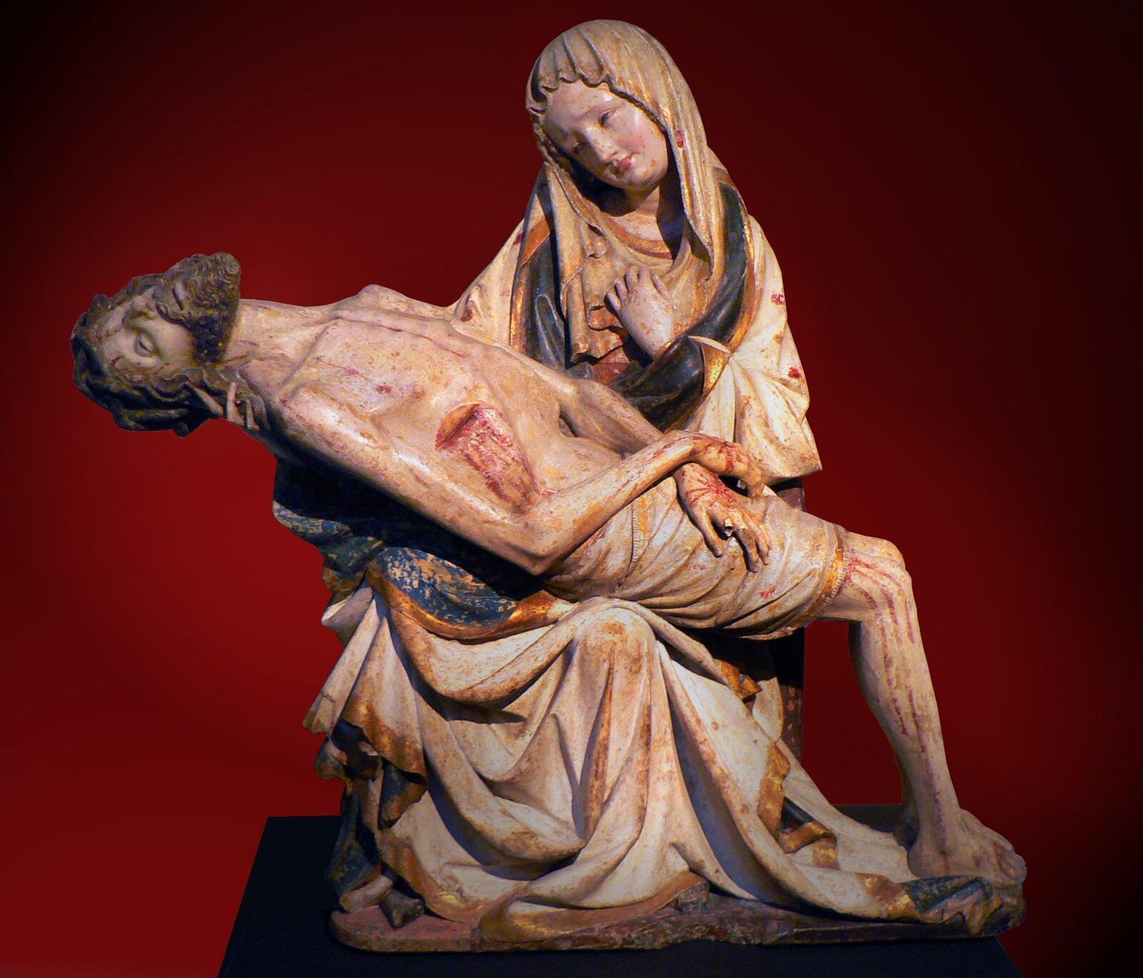 Pietà wykonana wCzechach, między 1390-1400 r., tak zwana Křivákova Pietà Źródło: Martin Vavřík, Pietà wykonana wCzechach, między 1390-1400 r., tak zwana Křivákova Pietà, domena publiczna.